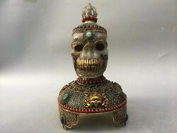 14'' Tibet Copper Silver Gold Filigree Turquoise Red Coral Crystal Skull Head
