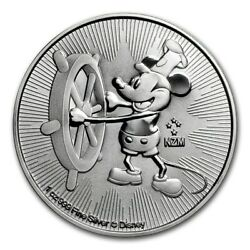 1 Oz .999 Fine Silver Bullion Disney Mickey Mouse Steamboat Willie Coin 2017