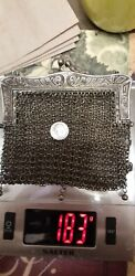 Original 925 Solid Sterling Silver Antique Purse Hand Bag Roaring 20and039s One Only