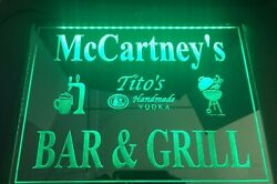 """Bar And Grill Led Light Sign Mirror Personalized 16x12"""" You Pick Name And Brand"""