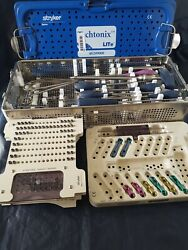 Stryker Techtonix Lite Spinal Instrumentsscrews And Plates Set In Carry Tray.