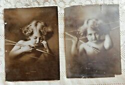 Antique Early 1900's Taber Prang Art Co Sepia Prints Cupid Awake / Asleep 6 By 8