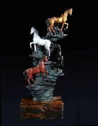 23and039and039 Bronze Sculpture Auspicious Animal Horse Success Immediately Upon Arrival