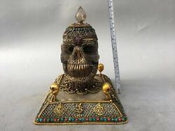 9'' Tibet Silver Gold Turquoise Red Coral Crystal Consecrate Skull Head Statue