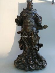 25and039and039 Fine Bronze Home Fengshui Decor Carved Dragon Treasure Guan Gong Statue