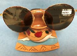 New Vintage Gold Luxotica Sunglasses Round Tempered Glass Uv400 Made In Italy