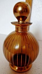 Vintage Perfume Glass Bottle Shimy Signed Cairo Egyptian Collectible Gilt Old