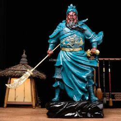24'' Pure Bronze Mineral Pigment Military Generals Hold Sword Dragon Guan Gong