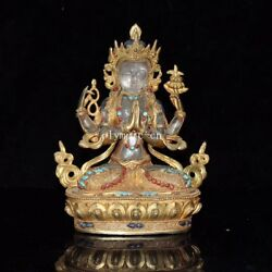 8and039and039 Bronze Gold Inlay Rock Crystal Quartz Four Arm Guanyin Chenrezik Practice