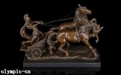 23and039and039 Bronze Sculpture A Warrior Draw Two Horse Carriage Chariot Gharry Statue