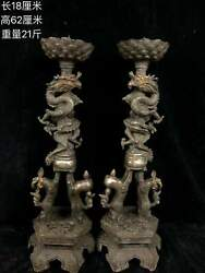 Pair 23and039and039 Old Bronze Silver Carved Auspicious Beast Dragon Lion Candlestick