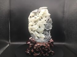 13and039and039 Hetian White Jade Nephrite Home Fengshui Decor Carved Lotus Ruyi Dragon