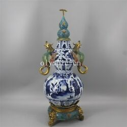 29and039and039 China Blue And White Porcelain Inlay Copper Cloisonne Phoenix Cucurbit Vase