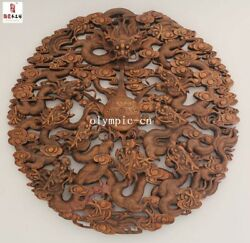 39and039and039 Camphorwood Handwork Carved Home Decor Wall Hanging Nine Dragon Screen