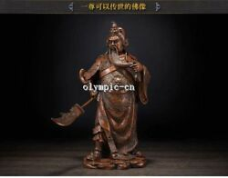 14and039and039pure Red Copper Carved Dragon Folk Buddha Guan Gong Guan Yu Statue