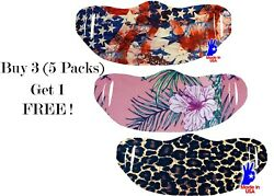 (5 Pack) Face Mask Cover Multiple Designs Lycra Unisex Reusable USA Made Fashion