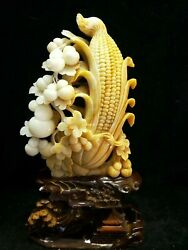 18and039and039 China Xiuyan Jade Hand-carved Beautiful Home Decorate Treasure Corn Gourd