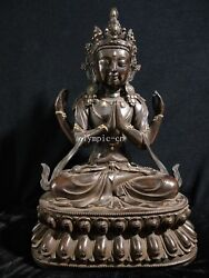 21and039and039 Pure Red Copper Buddhism Four Arm Guanyin Avalokitesvara Chenrezik Practice
