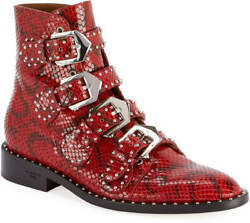 Givenchy Elegant Red Shiny Python Studded Buckles Ankle Boots 38.5 I Love Shoes