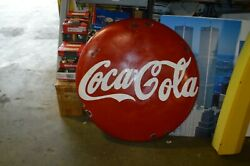 Vintage Hand Painted Coca Cola Button Hanging Sign