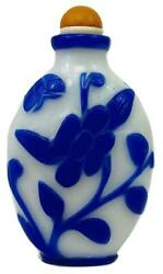 Antique Chinese Qing Carved Peking Glass Blue And White Snuff Bottle Amber Stopper