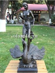 28and039and039 Bronze Art Sculpture A Girl Women Lade On Swan Crane Statue Marble Base