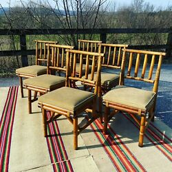A Fabulous Set Of 6 Vintage Mid Century Tiki Style Bamboo Dining Chairs 1960andrsquos