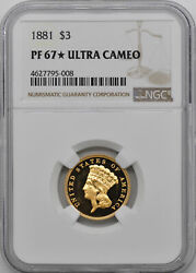 1881 INDIAN PRINCESS $3 NGC PR 67 DCAM