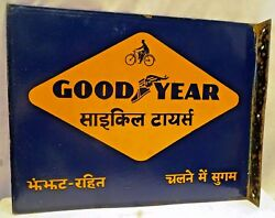 Vintage Good Year Tire Advertise Sign Porcelain Enamel Cycle Double Side Collect