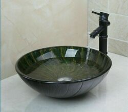 Oil Rubbed Finish Faucets Hand-painted Tempered Glass Sinks Chrome Pop-up Drains