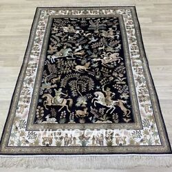 Yilong 4'x6' Handwoven Silk Rug Blue Hunting Animal Tapestry Carpet Y265ab