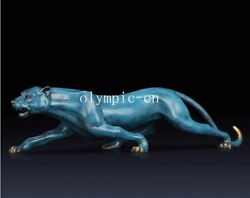 23and039and039 Bronze Copper Fine Workmanship Carvings Fierce Beast Leopard Statue