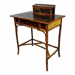 19th Century Beautiful Victorian Bamboo Leather Top Writing Desk