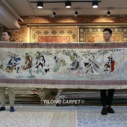 Yilong 3'x12' The Eight Immortals Crossing The Sea Silk Tapestry Home Rug 077H
