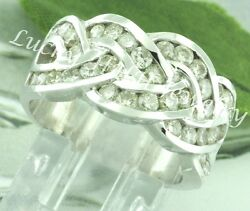 2.35 Ct 14k Solid White Gold Ladies Natural Diamond Ring Braided Weave Cocktail