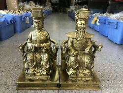 16'' Classical Brass Copper Home Fengshui Dragon Emperor And Empress Queen