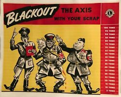 Wwii Ww2 Original World War Poster Blackout The Axis With Your Scrap Home Front