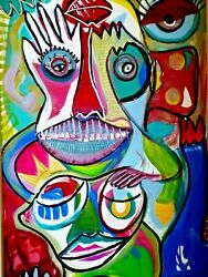 Painting Authentic Original Art Humorous Aliens Outer Space Children Kids Large