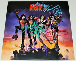 KISS BAND SIGNED 'DESTROYER' VINYL RECORD ALBUM LP wCOA GENE SIMMONS STANLEY x4