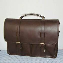 New Amerileather Heritage Distressed Brown Leather Laptop Briefcase