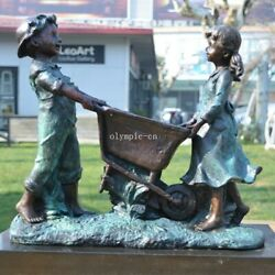 14and039and039 Bronze Art Sculpture Good Home Decorate Likable A Boy And Girl Statue
