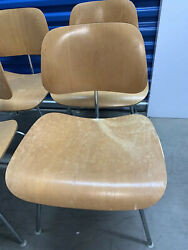 Herman Miller Eames Molded Plywood Chair Walnut With Chrome Base/white Glides