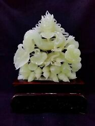 14and039and039serpentine Jade Xiuyan Jade Home Feng Shui Peanut Dragon Business Flourishes