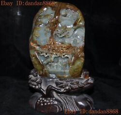 China Natural Emerald Green Jade Jadeite Carved Landscape Ancient People Statue