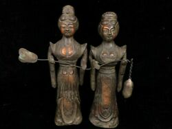 7'' Old Bronze Tang Dynasty Style Royal Pair Maid Women In An Imperial Palace