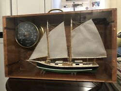 Model Sailboat And Brass Wind Speed / Direction Indicator Gauge Shadow Box