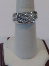 14kt White Gold Diamond Wedding Band Menand039s Ring