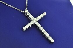 14k Solid White Gold Natural Diamond Cross Pendant 2.90 Ct Shared Prong Huge
