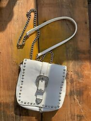 Ladies Flap Cross Bag w Chain Strap Rhinestone and Jewels Soft White Leather $19.99
