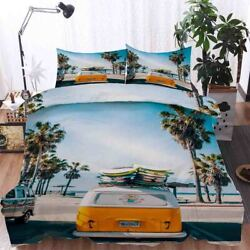 Travel Yellow Bus 3d Printing Duvet Quilt Doona Covers Pillow Case Bedding Sets